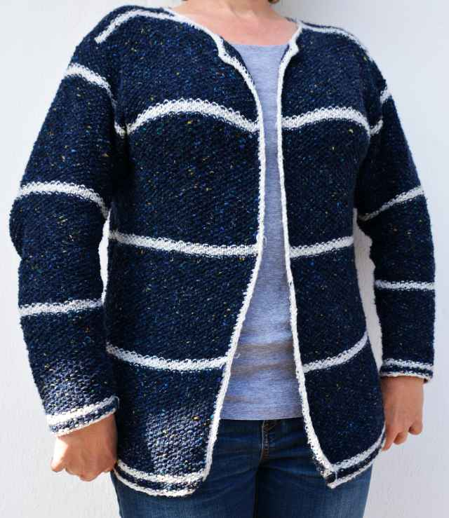 Strickjacke Tweed Perlmuster blau