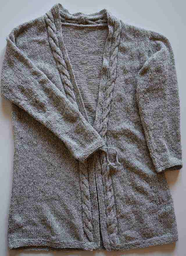 Tweed Cardigan Damen Zopfmuster