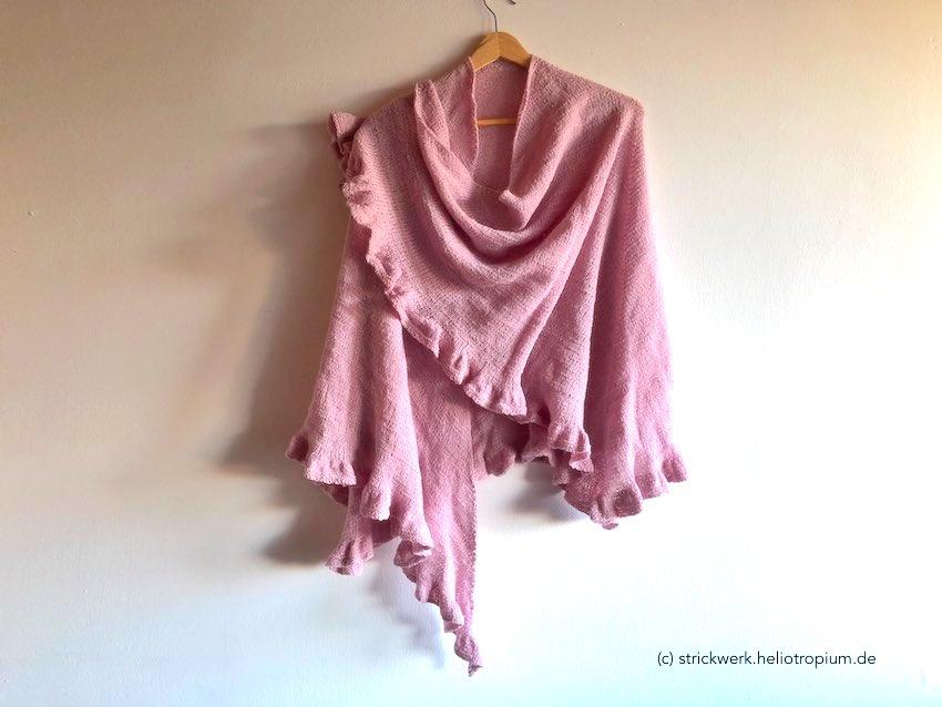 Stola mit Rüschen aus rosafarbenem Seiden-Gemisch