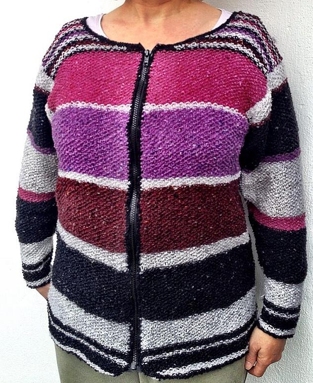 Strickjacke Tweed Reißverschluss