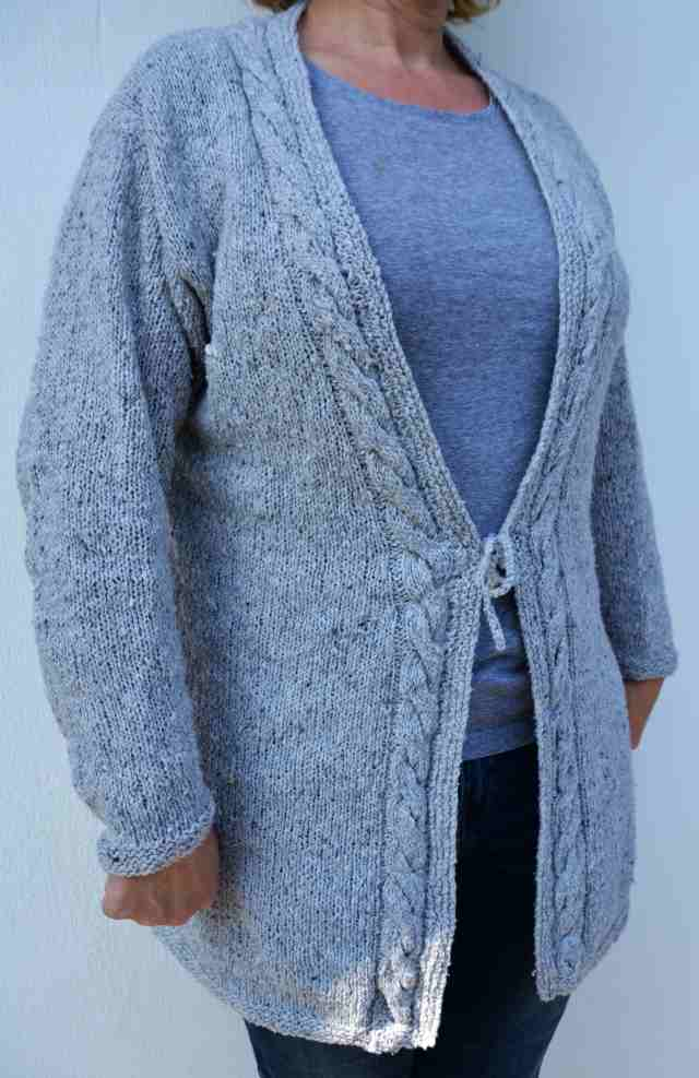 Cardigan Damen Tweed Lana Grossa Zopfmuster