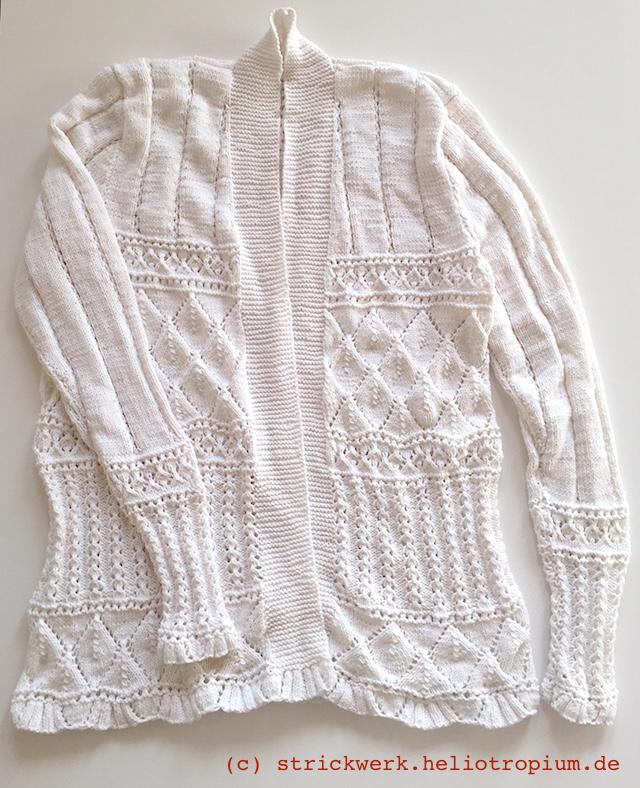Weiße Jacke im Loch-/Ajour-Muster